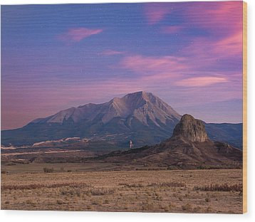 Starry Sunset Over West Spanish Peak Wood Print by Aaron Spong