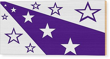 'stars 21' Or 'purple Stars' Wood Print by Linda Velasquez