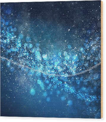 Stars And Bokeh Wood Print by Setsiri Silapasuwanchai