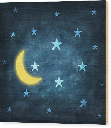 Stars And Moon Drawing With Chalk Wood Print