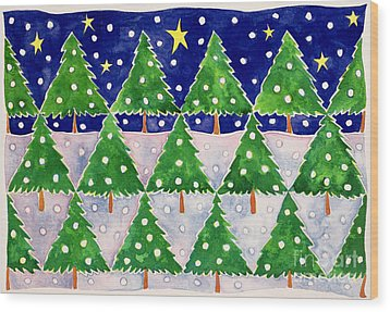 Stars And Snow Wood Print by Cathy Baxter