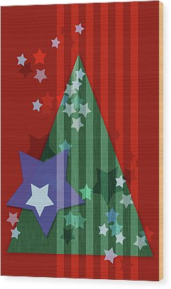 Stars And Stripes - Christmas Edition Wood Print by AugenWerk Susann Serfezi
