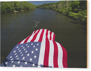 Stars And Stripes Flies Over The Delaware River Wood Print by George Oze