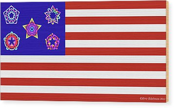Stars And Stripes Of Retrocollage Wood Print by Eric Edelman