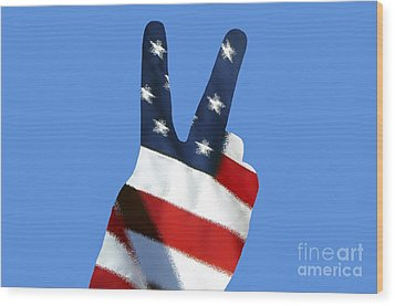 Wood Print featuring the photograph Stars And Stripes Peace Sign .png by Al Powell Photography USA