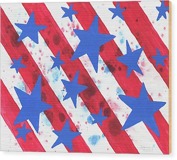 Wood Print featuring the painting Stars And Strips  by Darice Machel McGuire