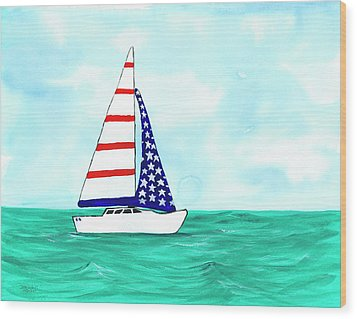 Wood Print featuring the painting Stars And Strips Sailboat by Darice Machel McGuire
