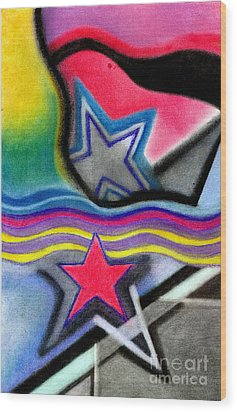 Wood Print featuring the pastel Stars by Christine Perry