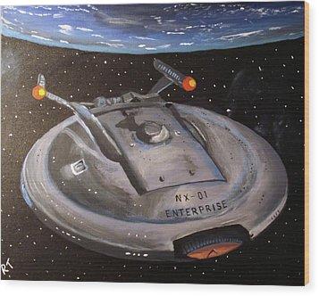 Starship Enterprise Wood Print by Rita Tortorelli