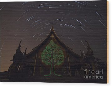 Wood Print featuring the photograph Startrails by Tosporn Preede