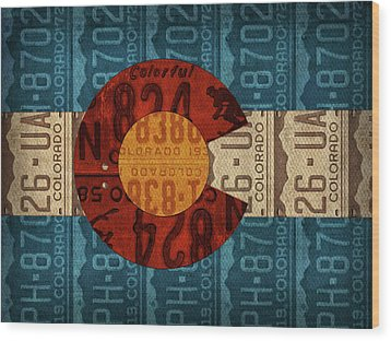 State Flag Of Colorado Recycled License Plate Art Wood Print by Design Turnpike