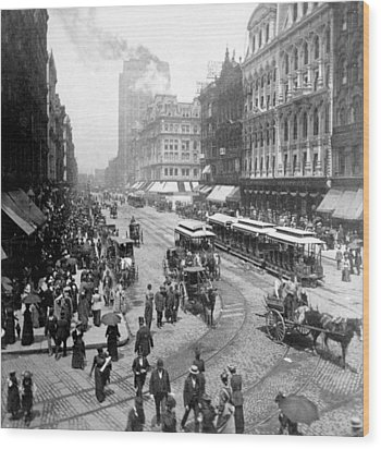 State Street - Chicago Illinois - C 1893 Wood Print by International  Images