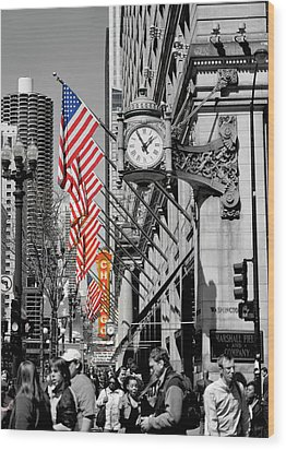 Wood Print featuring the photograph State Street Scene - 1 by Sheryl Thomas