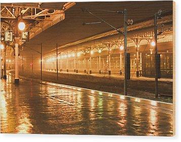 Station At Night Wood Print by Tony Grider