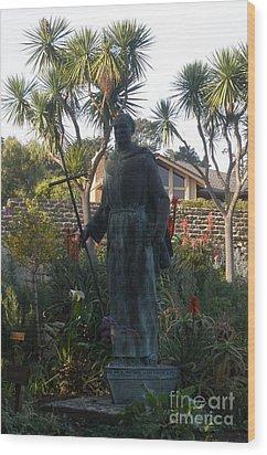 Statue At Mission Carmel Wood Print