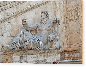 Statue Capitoline Hill Of Rome Italy Wood Print by Eva Kaufman
