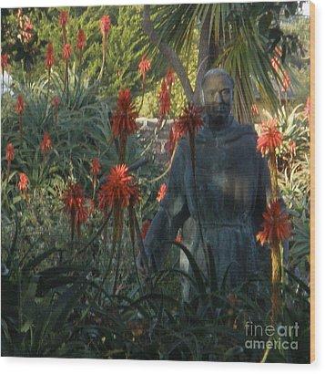 Statue In The Garden  Wood Print