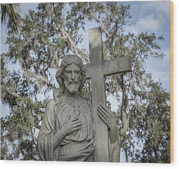 Wood Print featuring the photograph Statue Of Jesus And Cross by Kim Hojnacki