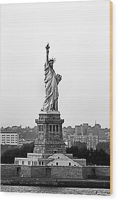 Wood Print featuring the photograph Statue Of Liberty Black And White by Kristin Elmquist