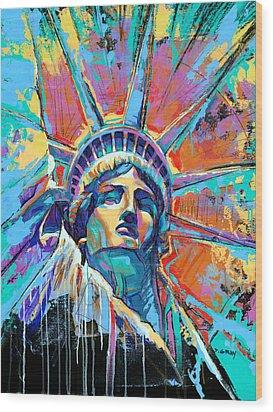 Statue Of Liberty New York Art Usa Wood Print