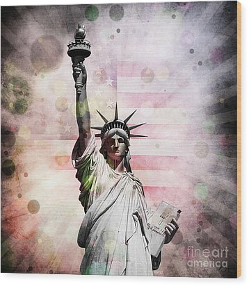 Wood Print featuring the digital art Statue Of Liberty by Phil Perkins