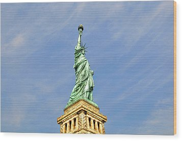 Statue Of Liberty Wood Print by Randy Aveille