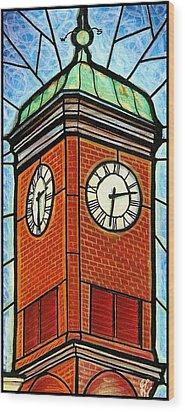 Wood Print featuring the painting Staunton Clock Tower Landmark by Jim Harris