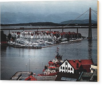 Wood Print featuring the photograph Stavanger Harbor by Jim Hill