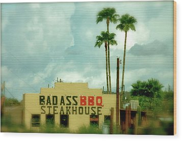 Steak House Wood Print by Kristine Patti
