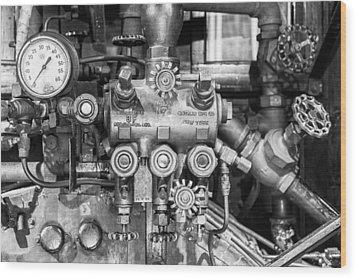 Steam Engine Controls Wood Print