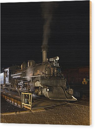 Locomotive And Coal Tender On A Turntable Of The Durango And Silverton Narrow Gauge Railroad Wood Print by Carol M Highsmith