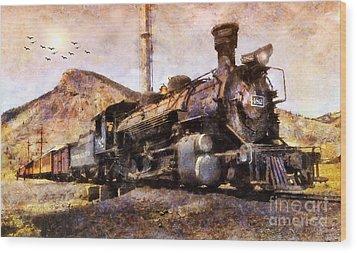 Wood Print featuring the digital art Steam Locomotive by Ian Mitchell