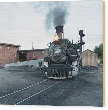 Steam Locomotive In The Train Yard Of The Durango And Silverton Narrow Gauge Railroad In Durango Wood Print by Carol M Highsmith