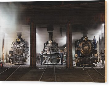 Steam Locomotives In The Roundhouse Of The Durango And Silverton Narrow Gauge Railroad In Durango Wood Print by Carol M Highsmith