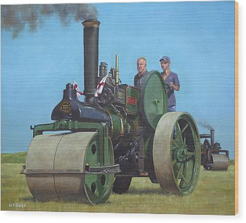 Steam Roller Traction Engine Wood Print by Martin Davey