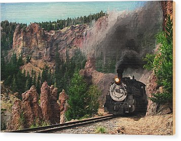 Wood Print featuring the photograph Steam Through The Rock Formations by Ken Smith