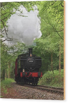Steam Train Approaching In The Forest Wood Print by Gill Billington