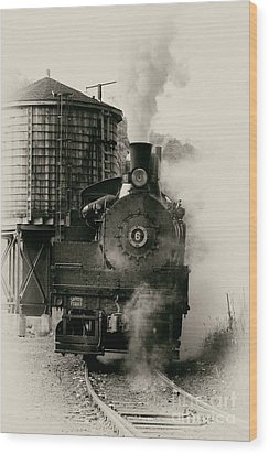 Steam Train Wood Print by Jerry Fornarotto