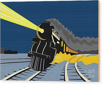 Steam Train Night Wood Print by Aloysius Patrimonio