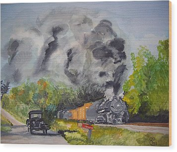 Steaming Along Wood Print by Carole Robins