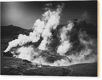 Wood Print featuring the photograph Steaming Iceland Black And White Landscape by Matthias Hauser