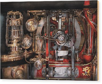 Steampunk - Check The Gauges  Wood Print by Mike Savad