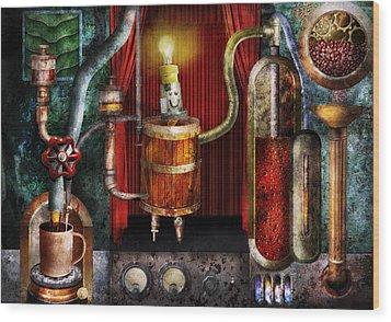 Steampunk - Coffee Break Wood Print by Mike Savad