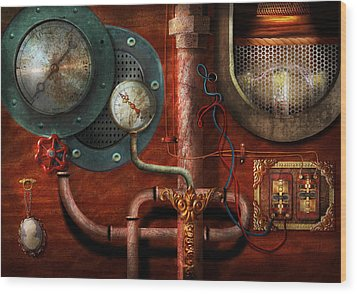 Steampunk - Controls Wood Print by Mike Savad