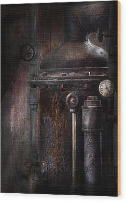 Steampunk - Handling Pressure  Wood Print by Mike Savad