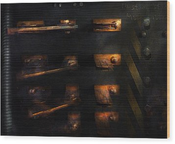 Steampunk - Pull The Switch Wood Print by Mike Savad