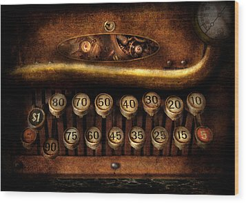 Steampunk - Remuneration Mechanism Wood Print by Mike Savad