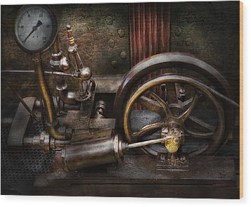 Steampunk - The Contraption Wood Print by Mike Savad
