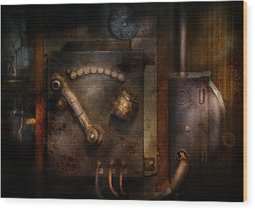 Steampunk - The Control Room  Wood Print by Mike Savad