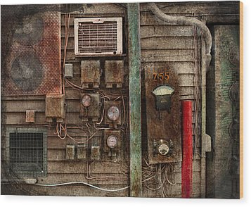 Steampunk - The Future  Wood Print by Mike Savad